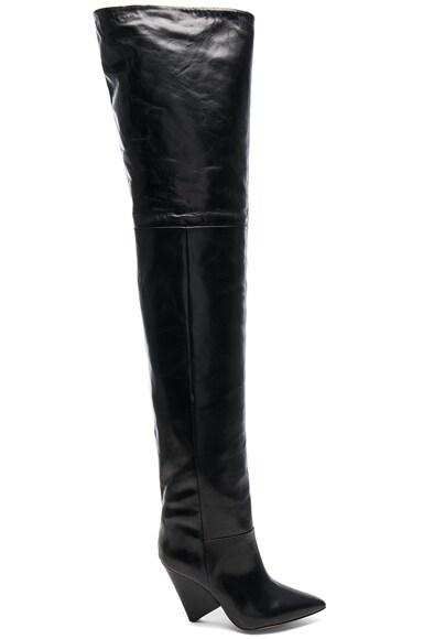 Lostynn Leather Thigh High Boots