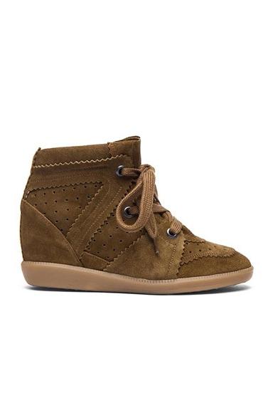 Isabel Marant Bobby Calfskin Velvet Leather Sneakers in Camel