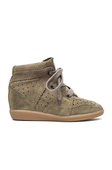 Isabel Marant Bobby Calfskin Velvet Leather Sneakers in Taupe