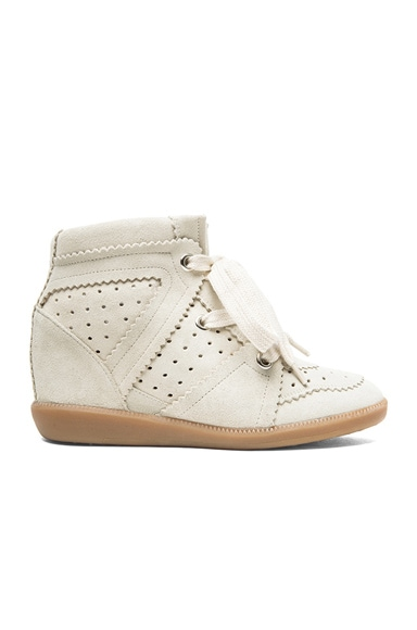 Isabel Marant Bobby Calfskin Velvet Leather Sneakers in Chalk