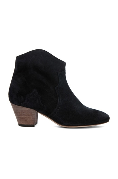 Isabel Marant Dicker Calfskin Velvet Leather Booties in Anthracite
