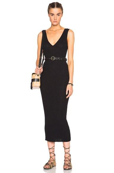 James Perse Long V Neck Dress in Black