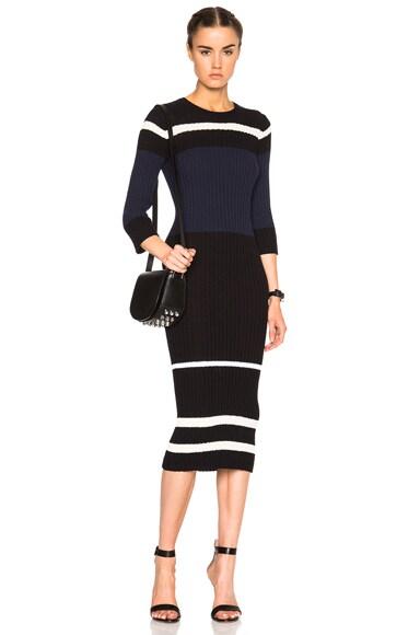 James Perse Stripe Dress in Black, Cream & Navy