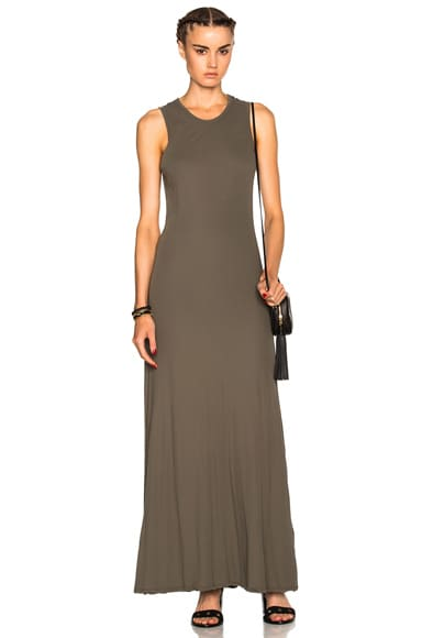 James Perse Long Flared Dress in Platoon