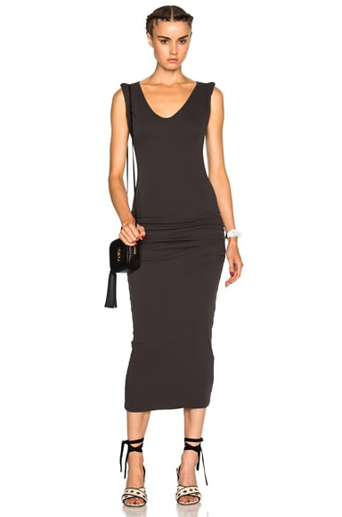 James Perse Twisted Sleeve Tube Dress in Carbon
