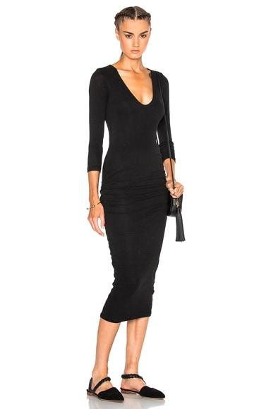 James Perse Classic V-Neck Skinny Dress in Black