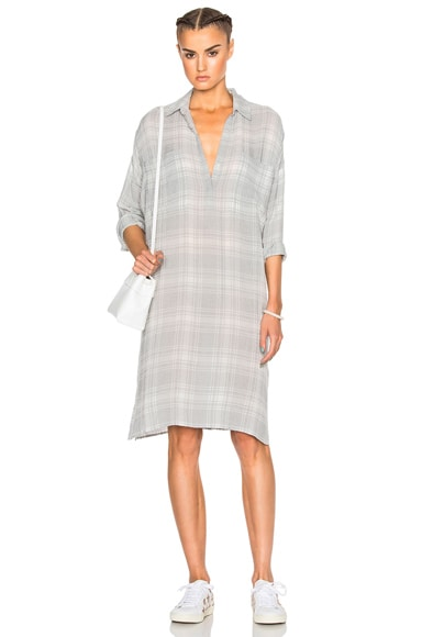 James Perse Plaid Oversize Shirt Dress in Light Grey Plaid