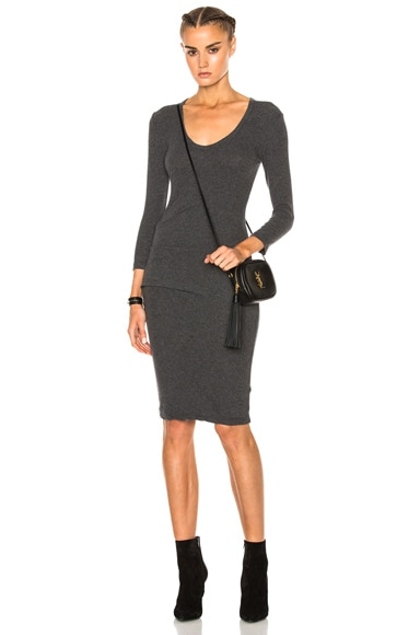 James Perse Skinny Tucked Dress in Heather Charcoal
