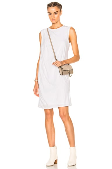 James Perse Tucked Shift Dress in White