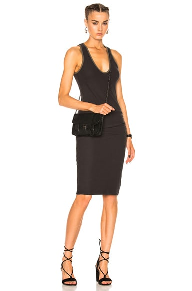 James Perse V Neck Tube Dress in Carbon & Platoon