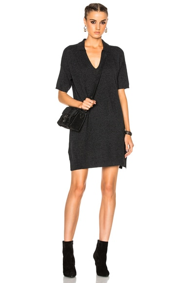 James Perse Cashmere Polo Dress in Anthracite