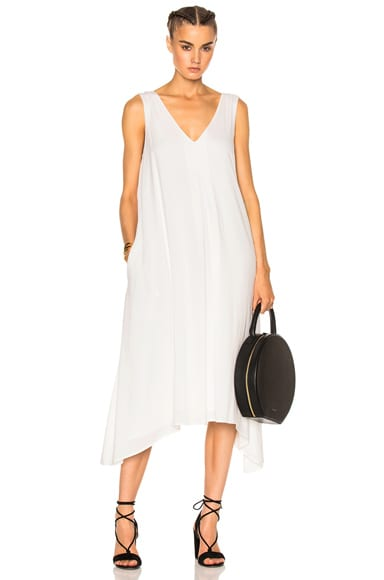 James Perse Double V Dress in White