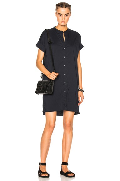 James Perse Rolled Sleeve Shirt Dress in French Navy