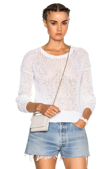 James Perse Cotton Crew Sweater in White