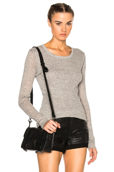 James Perse Doubled Cashmere Crew Sweater in Heather Grey