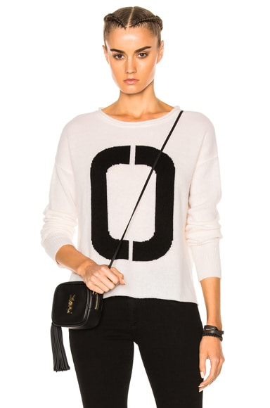 James Perse Cashmere Oversize Number Sweater in White & Black