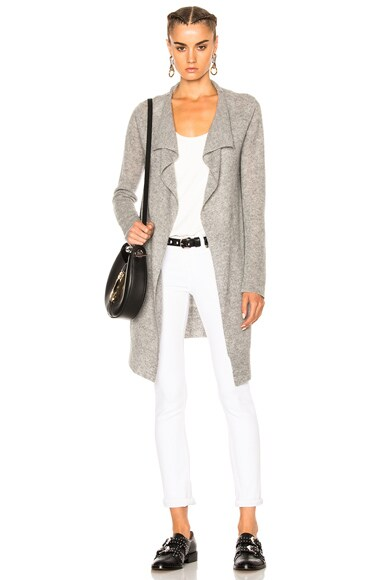 James Perse Thermal Stitch Cashmere Cardigan in Heather Grey