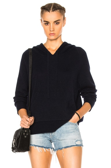 James Perse Cashmere Oversize Hoodie in French Navy Blue