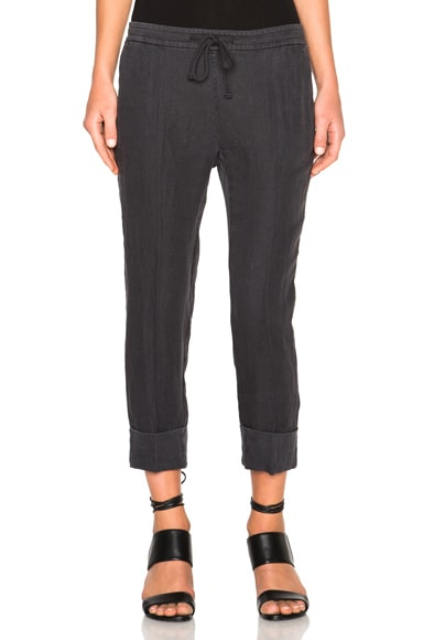 James Perse Cuffed Pull On Pants in Carbon
