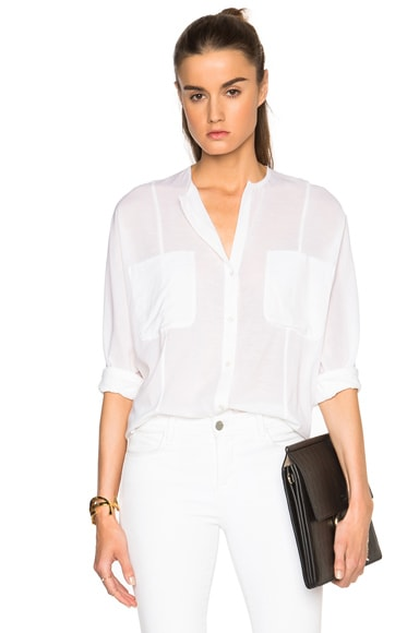 James Perse Oversize Chiffon Stretch Button Up Top in White