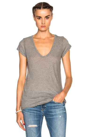 James Perse Deep V Neck Tee in Heather Grey