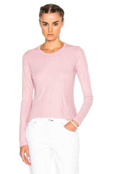 James Perse Long Sleeve Crew Top in Antique Rose