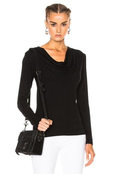 James Perse Cowl Neck Tee in Black