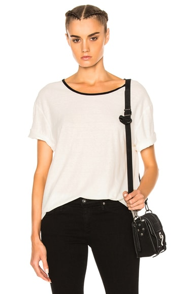 James Perse Relaxed Ringer Tee in Ice Cream & Black