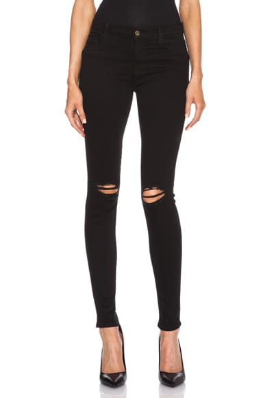 J Brand Super Skinny Distress Knee in Blackout