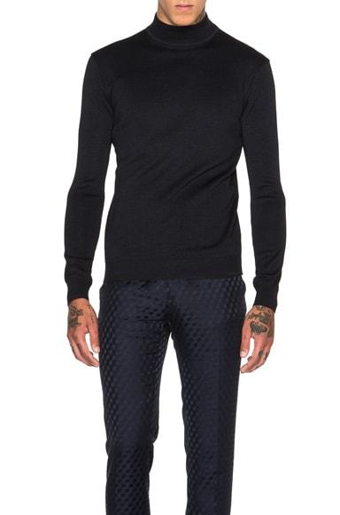 Jil Sander Mock Turtleneck Sweater in Black