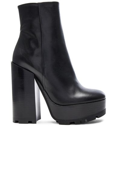 Jil Sander Platform Leather Boots in Black