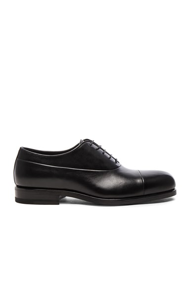 Jil Sander Leather Maremma Oxfords in Black