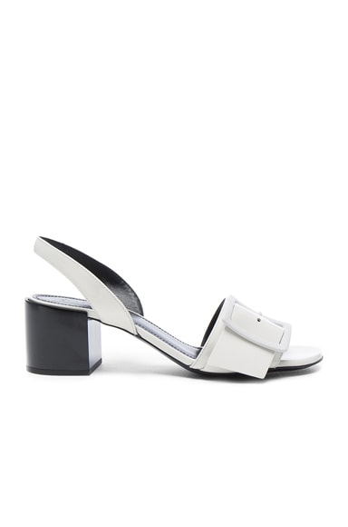 Jil Sander Patent Leather Heels in Riso & Nero