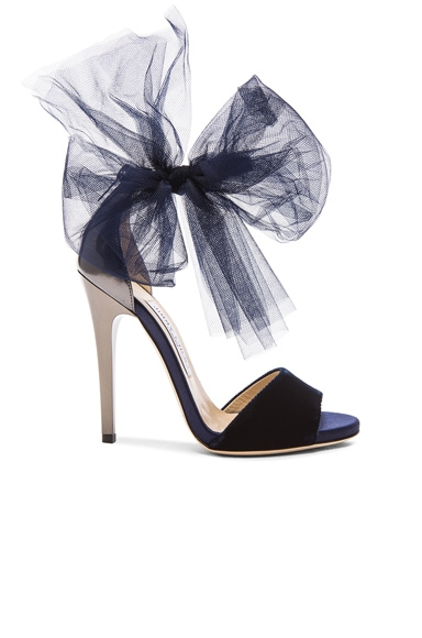 Jimmy Choo Lilyth Satin and Velvet Heels in Anthracite & Navy
