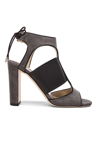 Jimmy Choo Moira Suede Heels in Black & Mist