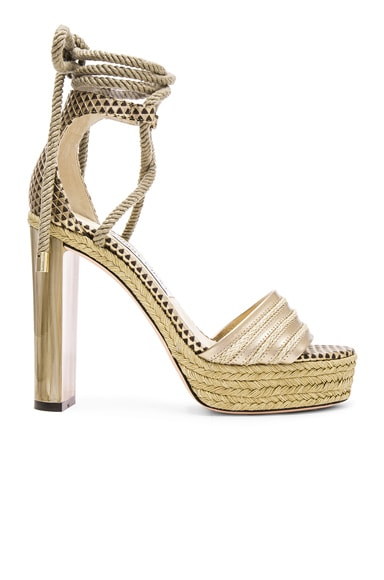 Jimmy Choo Mayje Leather Heels in Champagne & Nude