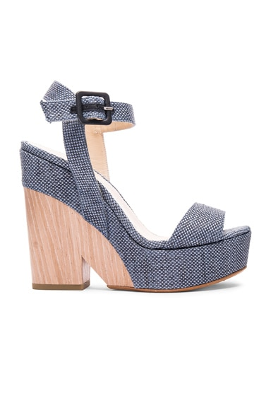 Jimmy Choo Fine Raffia Nico Wedges in Navy