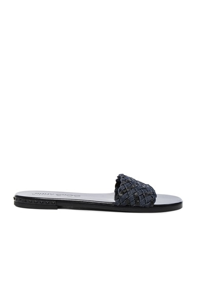 Jimmy Choo Denim Weave Sandals in Light Indigo & Black