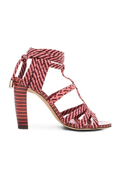 Jimmy Choo Leather Trix Heels in Dark Shiraz & Coral Pink
