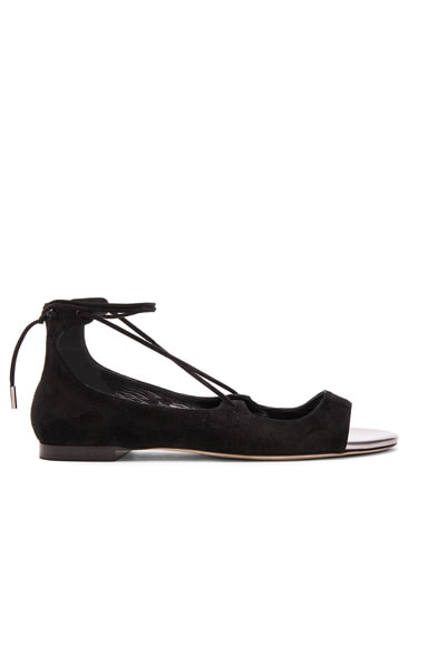 Jimmy Choo Suede Vernie Flats in Black & Steel