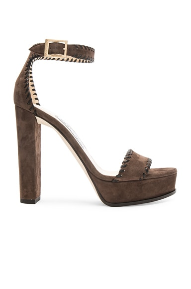 Jimmy Choo Suede Holly Heels in Pecan