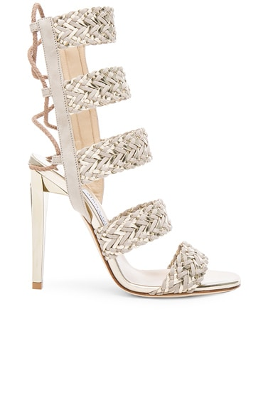 Jimmy Choo Suede Lima Heels in Marble & Light Champagne