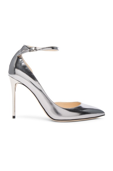 Jimmy Choo Leather Lucy Heels in Steel