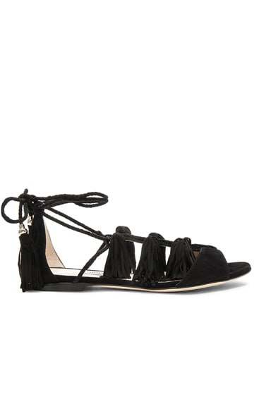 Jimmy Choo Suede Mindy Sandals in Black