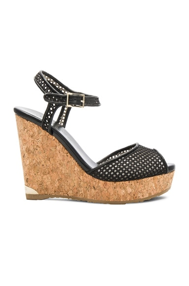 Jimmy Choo Mesh Perla Wedges in Black