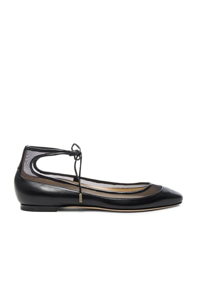 Jimmy Choo Leather Tyler Flats in Black
