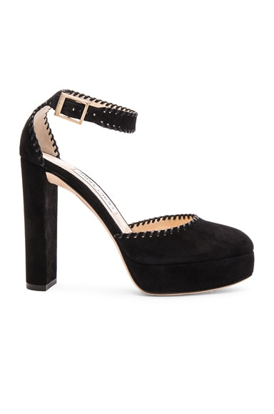 Jimmy Choo Suede Daphne Heels in Black