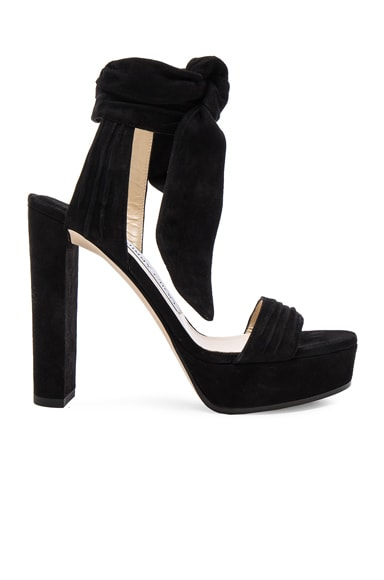 Jimmy Choo Suede Kaytrin Heels in Black