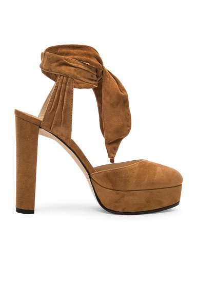 Jimmy Choo Suede Kelsey Heels in Canyon