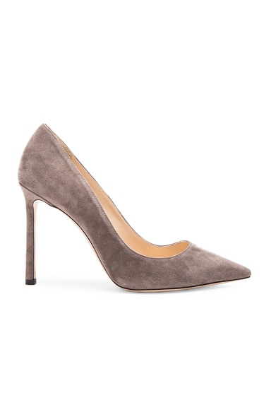 Jimmy Choo Suede Romy Pumps in Taupe Grey